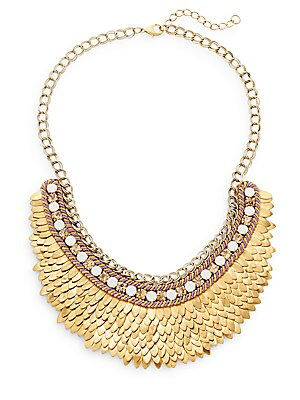 Austrian Crystal & Suede Feather Bib Necklace/Goldtone