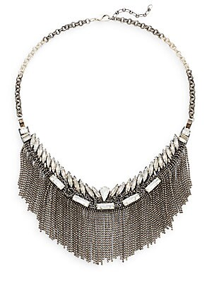 Austrian Crystal Fringe Bib Necklace/Gunmetal-Tone