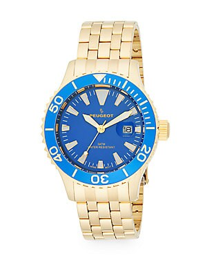Blue & Goldtone Stainless Steel Bracelet Watch
