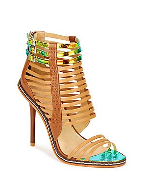 Brook Iridescent & Matte Leather Cage Sandals