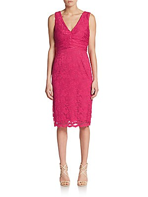 Lace Shirred-Detail Dress