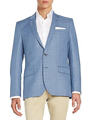 Hutsons Textured Check Virgin Wool Sportcoat