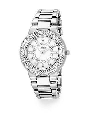 Silvertone Pavé Bracelet Watch