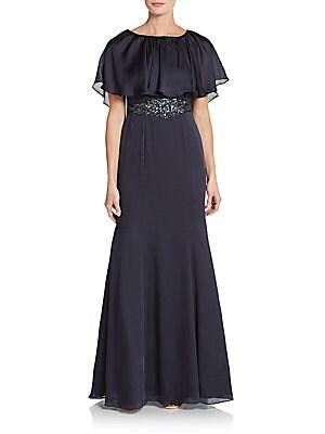 Beaded-Waist Capelet Dress