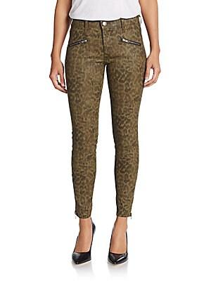 Sohozi Animal-Print Skinny Zip Jeans