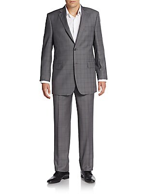 Regular-Fit Plaid Sharkskin Wool Suit