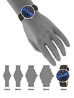 Stainless Steel Interchangeable Leather Strap Watch