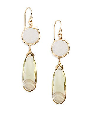Muji Bio Topaz & White Agate Drop Earrings