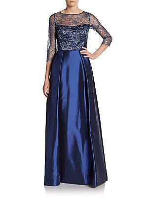 Lace Illusion-Yoke Pleated Gown
