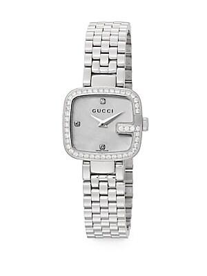 gucci female ggucci 063 tcw diamond stainless steel bracelet watch