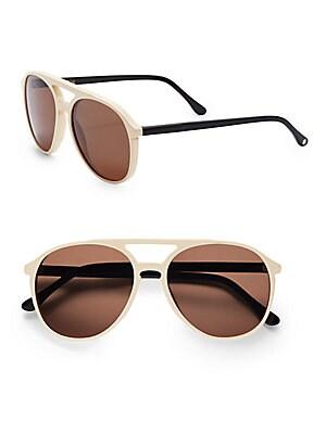 60MM Two-Tone Round Aviator Sunglasses
