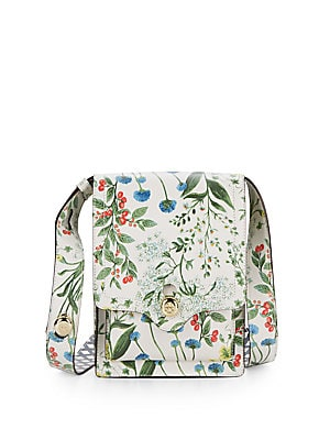 Floral Print Leather Crossbody Bag