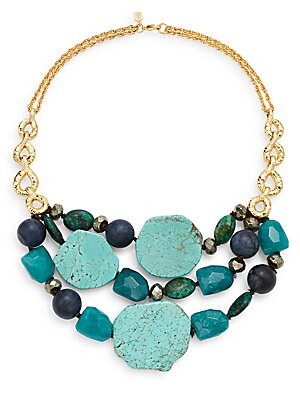Elements Jade, Pyrite, Chrysocolla & Turquoise Multi-Row Necklace/Goldtone
