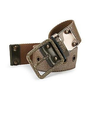 Bitape Leather-Trimmed Cotton Belt