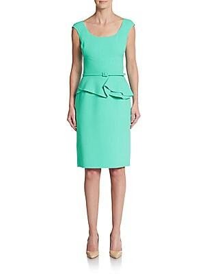 Belted Wool-Blend Peplum Dress