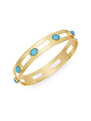 Monaco Turquoise Studded Cutout Bangle Bracelet