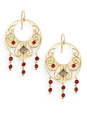 Antiquity Red Crystal & Smoky Topaz Drop Earrings
