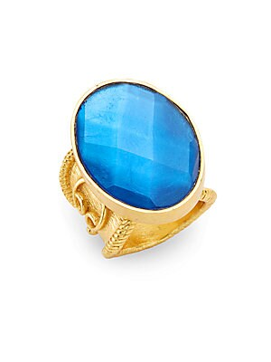 Casablanca Faceted London Blue Crystal Ring