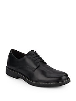 Leather Contrast-Stitched Oxfords