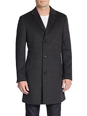 Trim-Fit Notched Lapel Wool & Cashmere Coat