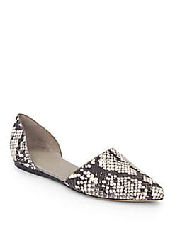 Nina Embossed Leather D'Orsay Flats