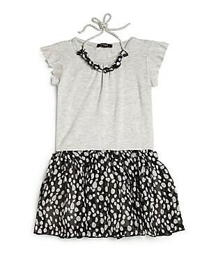 Little Girl's & Girl's Flutter Sleeve Dress & Bubble Necklace
