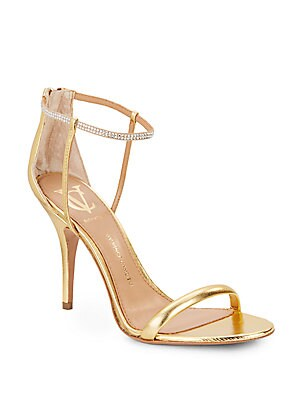 Ginny Metallic Leather Embellished-Strap Sandals