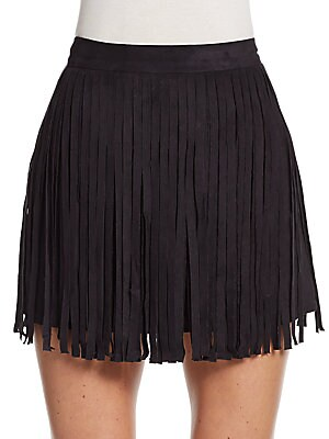 Faux Suede Fringed Mini Skirt