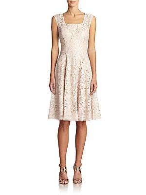 Bonded Lace Cap-Sleeve Dress