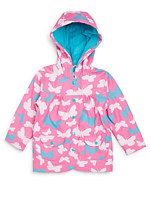 Girl's Butterfly Print Hooded Raincoat