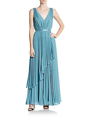 Rain Pleated Chiffon Dress