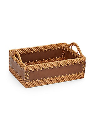 Woven Straw & Wood Storage Tote