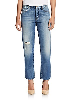 The Loosey Distressed Cropped Boyfriend Jeans