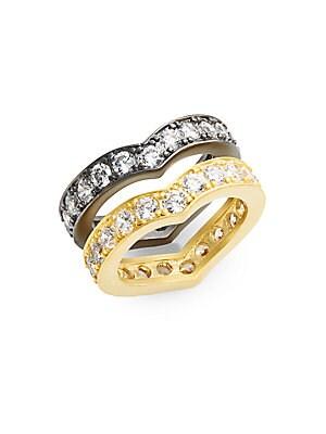 White Stone & Two-Tone Ring Set