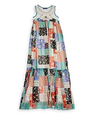 Girl's Crochet-Trim Patchwork-Print Maxi Dress
