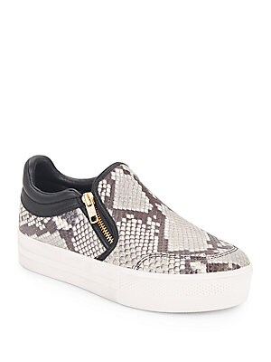 Jordy Stamped Leather Slip-On Sneakers