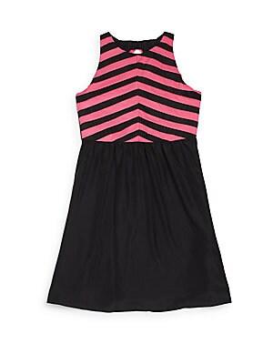 Girl's Chevron Chiffon Dress