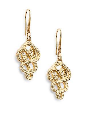 Classic Chain 18K Yellow Gold Braided Drop Earrings