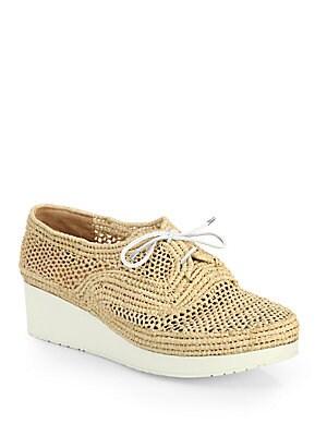 Lace-Up Raffia Platform Loafers