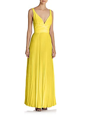 Pleated V-Neck Gown