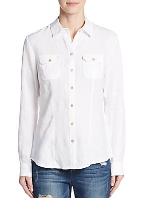 Roll-Tab Sleeve Linen Shirt