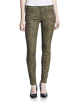 Coated Animal-Print Ankle Jeans