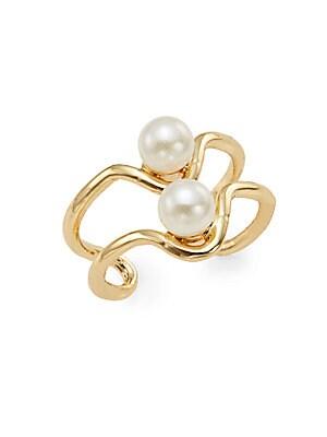 Tatiana Simulated Pearl Layered Ring/Goldtone