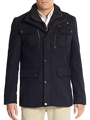 Burl Knit Collar Wool-Blend Coat