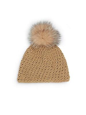 Fox Fur-Accented Knit Pom-Pom Beanie