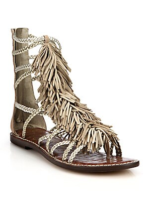Leather Fringe Hightop Sandals
