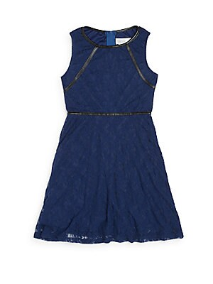 Girl's Faux Leather-Trimmed Lace Fit-&-Flare Dress