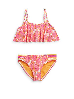 Toddler's & Little Girl's Two-Piece Palm Print Swimsuit