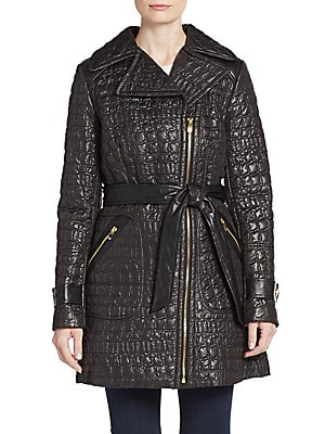 QUILTED CROC BELTED