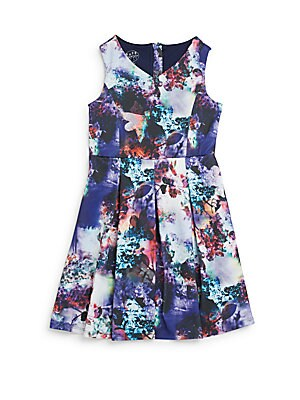 Girl's Floral-Print Pleated Fit-&-Flare Dress